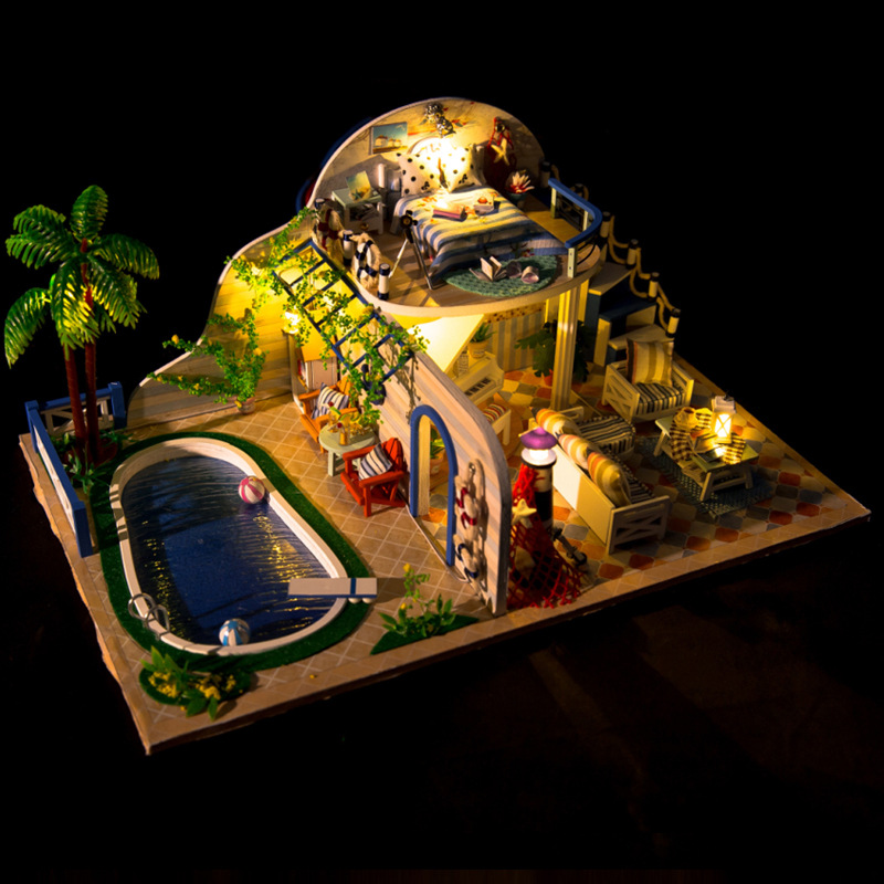 DIY Hut Creative Toy Birthday Gift Architecture Model Dollhouse Handmade Wooden Product