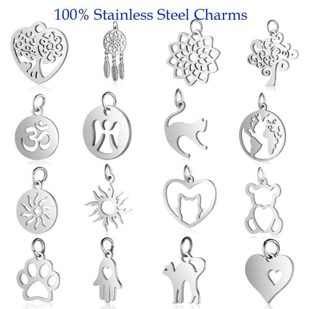 5pcs/lot 100% Stainless Steel Cat Om Bear DIY Charm Pendant Wholesale Sun Lotus Dream Dog Catcher Bracelet Connector Charms