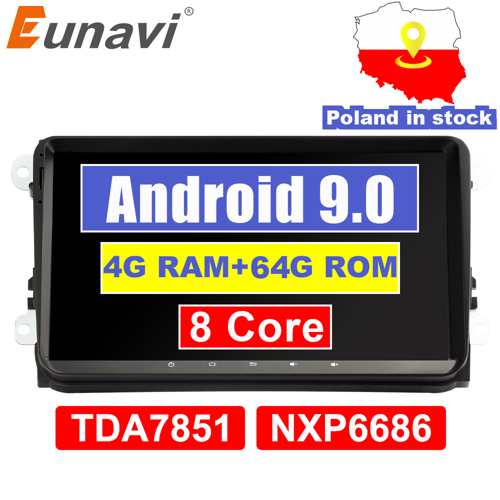 Eunavi 4G 64G <font><b>Android</b></font> 9 2 Din <font><b>Car</b></font> <font><b>Radio</b></font> Stereo GPS for VW Passat B6 CC Polo <font><b>GOLF</b></font> 5 <font><b>6</b></font> Touran Jetta Tiguan Magotan Seat DSP NO DVD image