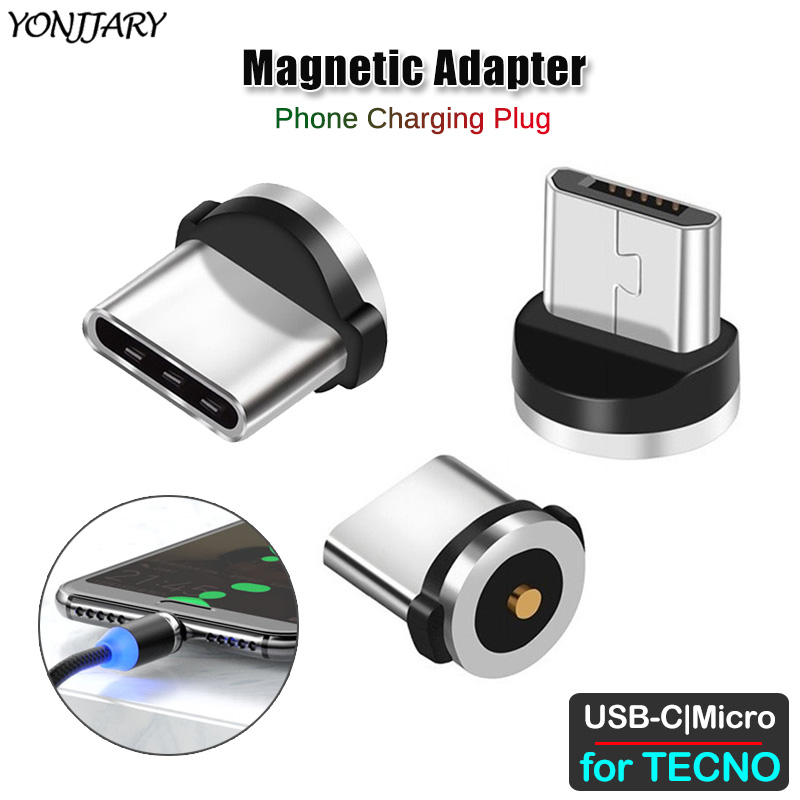 Round Magnetic Cable Adapter For TECNO Phantom 8 6 Pouvoir 1 Spark 2 3 4 Camon CX CM 11 12 15 Air Plus Pro Micro USB Type C Plug