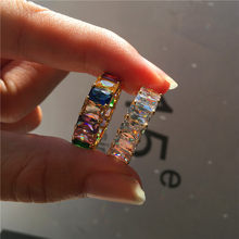 Luxury Female Square Rainbow Zircon Ring Charm Love Wedding Engagement Ring High Quality Silver Gold Finger Rings For Women(China)
