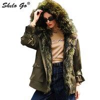 Fur Coat Army Green Real Raccoon Collar Hooded Drawstring Waist Warm Rabbit Fur Lining Fur Coat Women Winter Casual Plus Outwear
