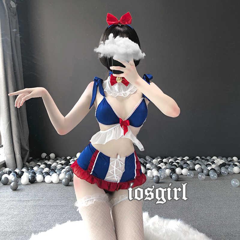 Kawaii bonito Branca de Neve Cosplay Traje Mulheres Lingerie Maid Uniform Cauda Do Coelho Vestido Lolita Sutiã e Calcinha Conjunto de Roupa Interior