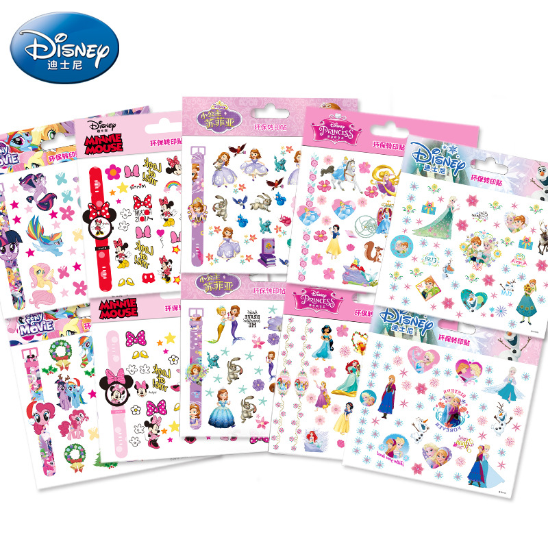 Original Disney Princess Tattoo Nail Stickers Fashion Disney Frozen Sticker Anna Elsa Sofia Mickey Mouse Waterproof Stickers