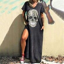 Женское платье без рукавов свободное в стиле панк с лямкой на