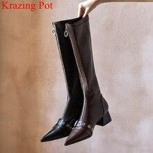 Couro de vaca zip rebite dedo do pé apontado mulheres joelho botas altas fivela elegante nightclub coxa botas altas pista dança sapatos de inverno l23