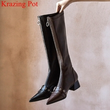פרה עור zip מסמרת מחודדת הבוהן נשים הברך גבוהה מגפי אבזם אלגנטי מועדון לילה ירך גבוהה מגפי מסלול ריקוד חורף נעליים l23