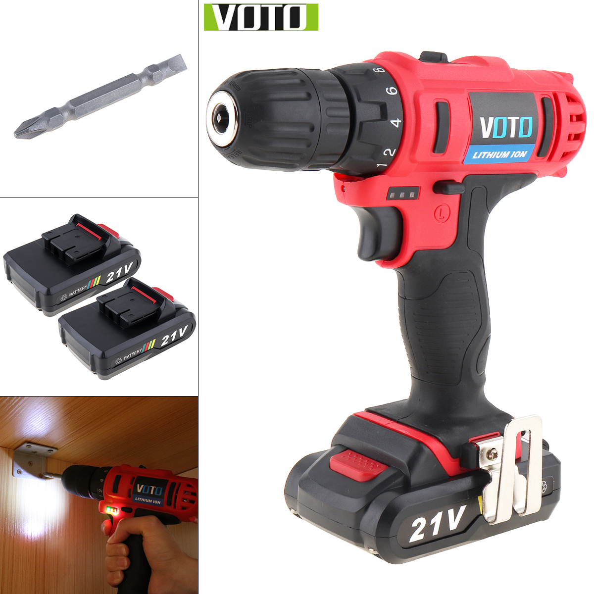 VOTO AC 100 - 240V Cordless 21V Two-speed Electric Screwdriver / Drill With Max 2 Lithium Batteries And Power Display