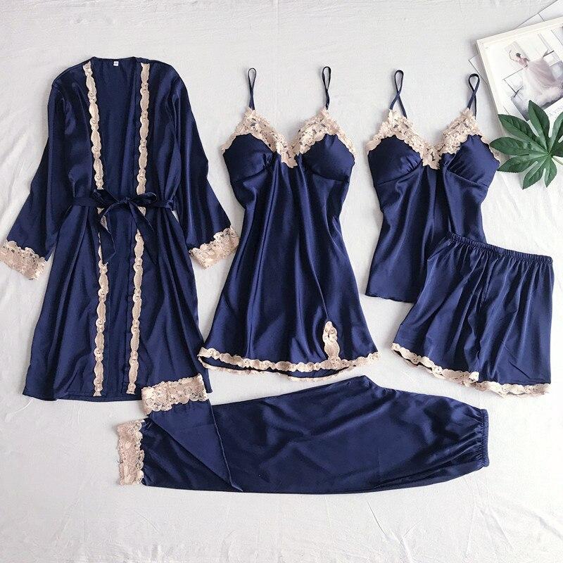 5PCS Nightgown Set Women Lace Nightwear Navy Blue V-Neck Pajamas Suit Spring Sleepwear Robe Gown Sleep Wear Home Pijama Negligee