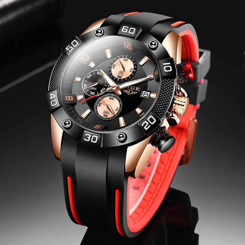 LIGE 2020 New Fashion Men Watches with Silicone Strap Top Brand Luxury Sport Chronograph Male Quartz Watch Men Relogio Masculino(China)