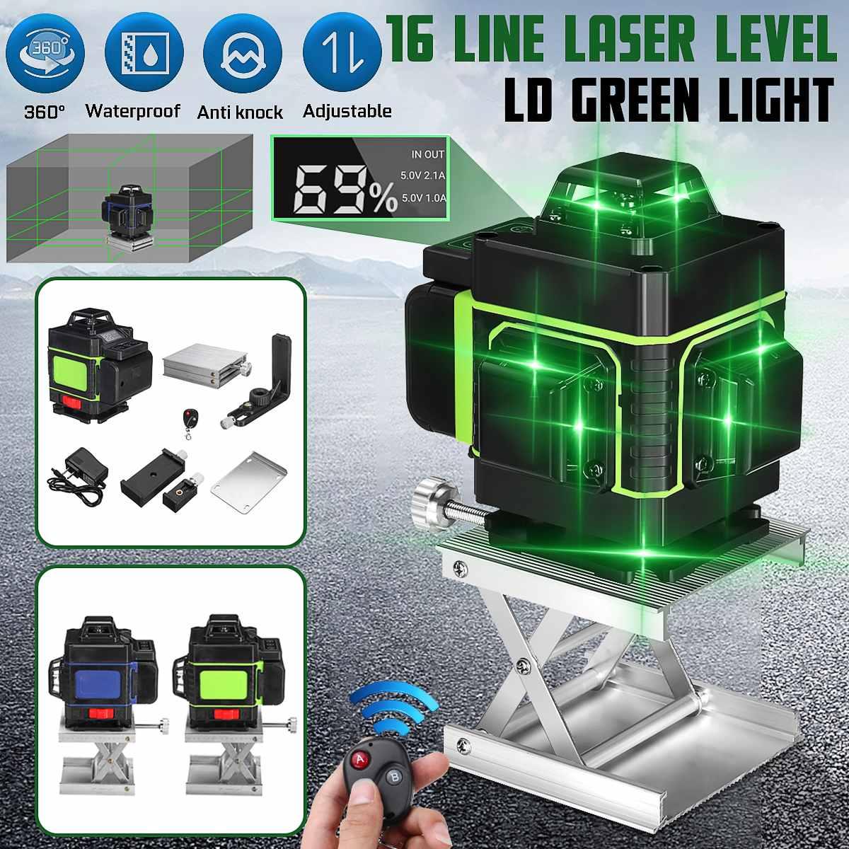 Laser nível 16 linhas 3d auto-nivelamento 360 horizontal e vertical cruz super poderosa linha de feixe de laser verde