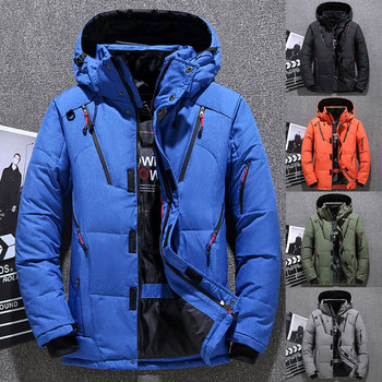 Men Down Jackets Warm Hooded Coat Long Sleeve Breathable Windproof Warm White Duck Down jacket Tops for Winter Outdoor Climbing