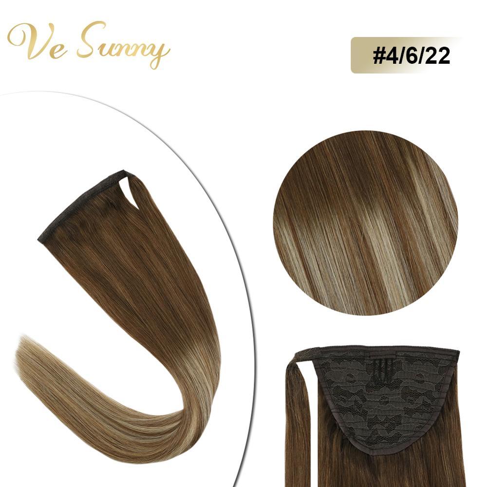 VeSunny Ponytail Extensions Wrap Around Magic Tape 100% Human Hair Balayage Brown And Blonde #4/6/22