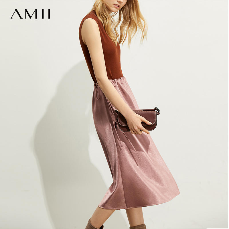 Amii Casual Fashion Western Style Soft Skirt Autumn New Loose Aline Bandage Elastic Waist Solid Color Dress 11940480