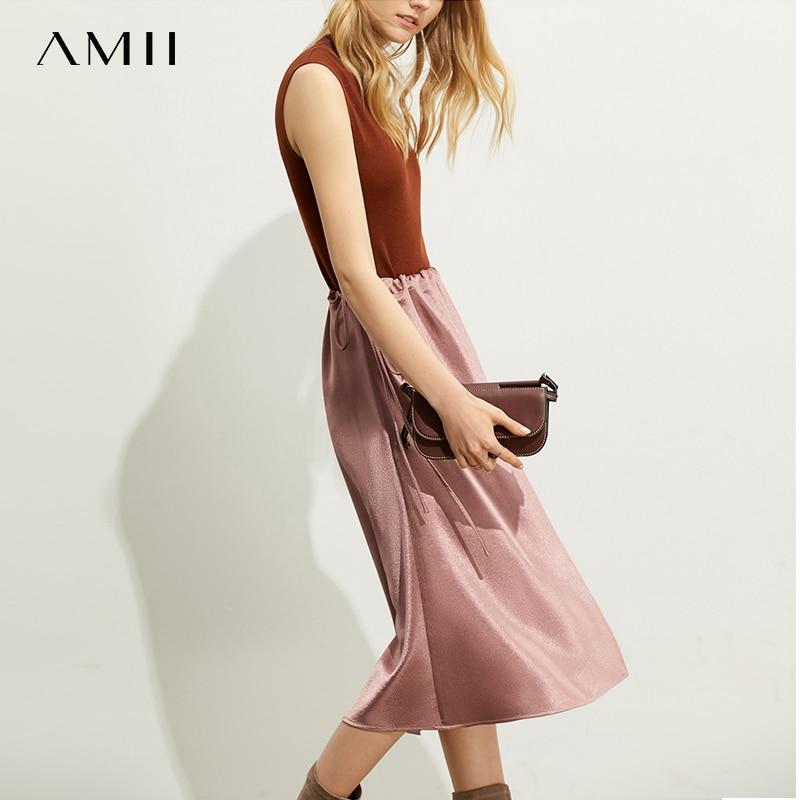 Amii Casual Fashion Western Style Soft Skirt Autumn New Loose Aline Bandage Elastic Waist Solid Color Dress 11940480