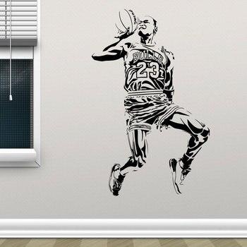 Calcomanía deportiva para pared de baloncesto vinilo decoración del hogar Michael cartel de Jordan calcomanías murales habitación de niños sala de juegos dormitorio de adolescente 3840