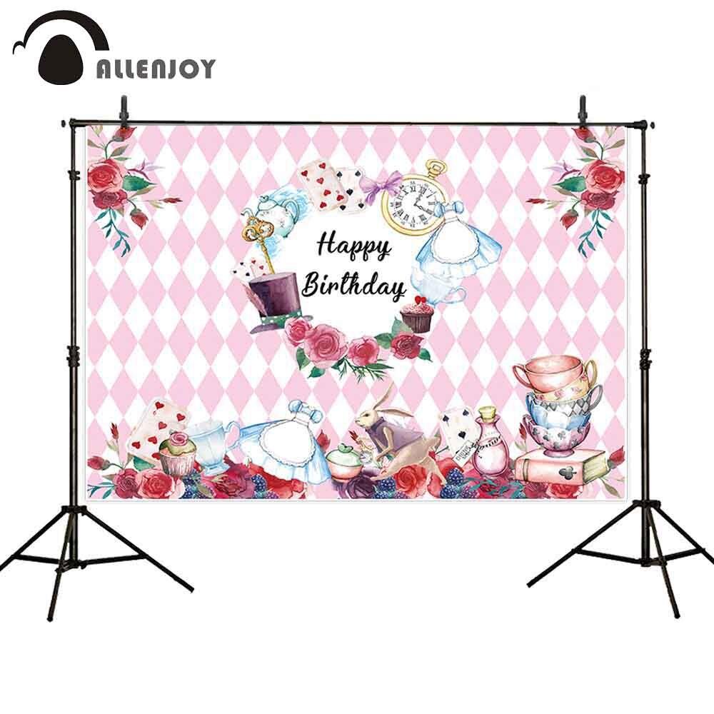 Allenjoy/розовые вечерние фотофоны для девочек, Кубок страны чудес, кролик, бриллиант, шаг и повтор, фоновые декорации, принадлежности для принцесс, события, настенные транспаранты