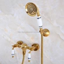 Gold Color Brass Bathroom Shower Faucet Mixer Tap With Hand Shower Head Shower Faucet Set Wall Mounted Nna980 стоимость
