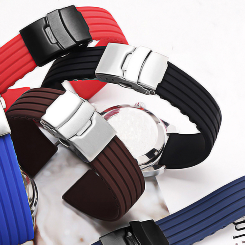 16mm 18mm 20mm 22mm 24mm Silicone Strap Folding Buckle For Samsung Galaxy Watch Gear S2 S3  Rubber Bracelet Strap Band