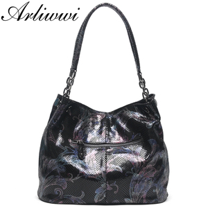 Image 3 - Arliwwi Brand 100% Real Leather Shiny Flower Female Handbags Pewter Chain Genuine Suede Cow leather Embossed Bags GY15