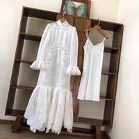 LouLanQueen Long Sleeve Women Dress Runway/Summer /White/Lace/Maxi/Party/Beach/Elegant/Mesh/Linen/Dress Robe ete femme 2020