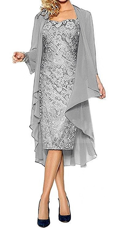 The Groom Dresses Tea Length Lace Sweetheart Knee Length Mother Of The Bride Dress With Jacket Formal Evening Gowns 2020