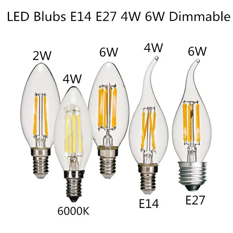 10 шт. светодиодный дизайн энергосбережения 4W 6W лампы в форме свечи C35 C35L лампы E14 E27 с регулируемой яркостью 220V белый 6000K 2700K лампа накаливания ...