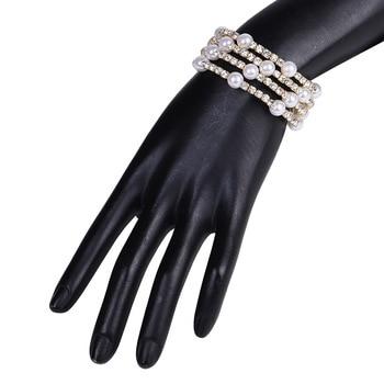 Multiple Rows Crystal Pearl Adjustable Bracelet  4
