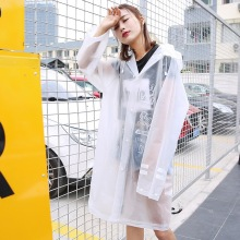Long Rain Coat Adult EVA Waterproof Travel Outdoor Poncho Transparent Rainwear Windbreaker Raincoat Women Hooded 60YY008