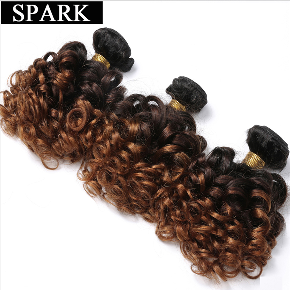 SPARK Ombre Loose Bouncy Curly Brazilian Human Hair Weave Bundles Natural 3/4 Pieces 100% Remy Human Hair Extension Medium Ratio