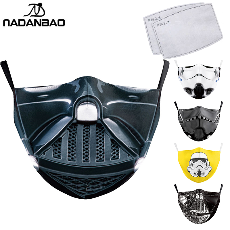 NADANBAO Classic Movie Star War Cosplay Print Face Mask Adult Kid Washable Masks Fabric Reusable PM2.5 Filters Dust Proof