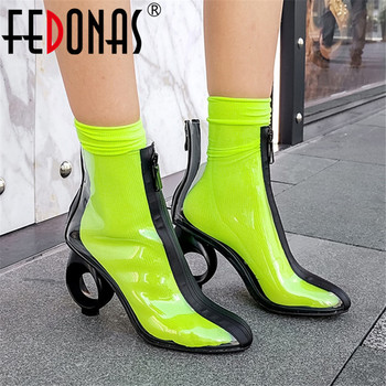 FEDONAS Fashion Tpu Leather Women Strange Heels Ankle Boots Zipper Plus Size Chelsea Boots Night Club Shoes Woman Autumn Boots
