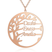 Personalized Name Necklaces Simple Style Tree Pendant Engraved Names 3 Color Fashion Women Jewelry Anniversary Gift for Family