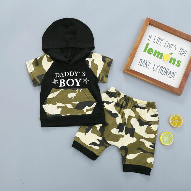 Citgeett Summer Camo Baby Kids Boy Camouflage Hoodie Tops+Shorts Gentle Clothes Outfit Set Clothing 2