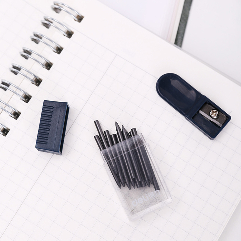 2 Set 2mm Compass Core Replacement Pencil Lead Stationery with Pencil Sharpener for Students Drafting Tools Compasses Tool