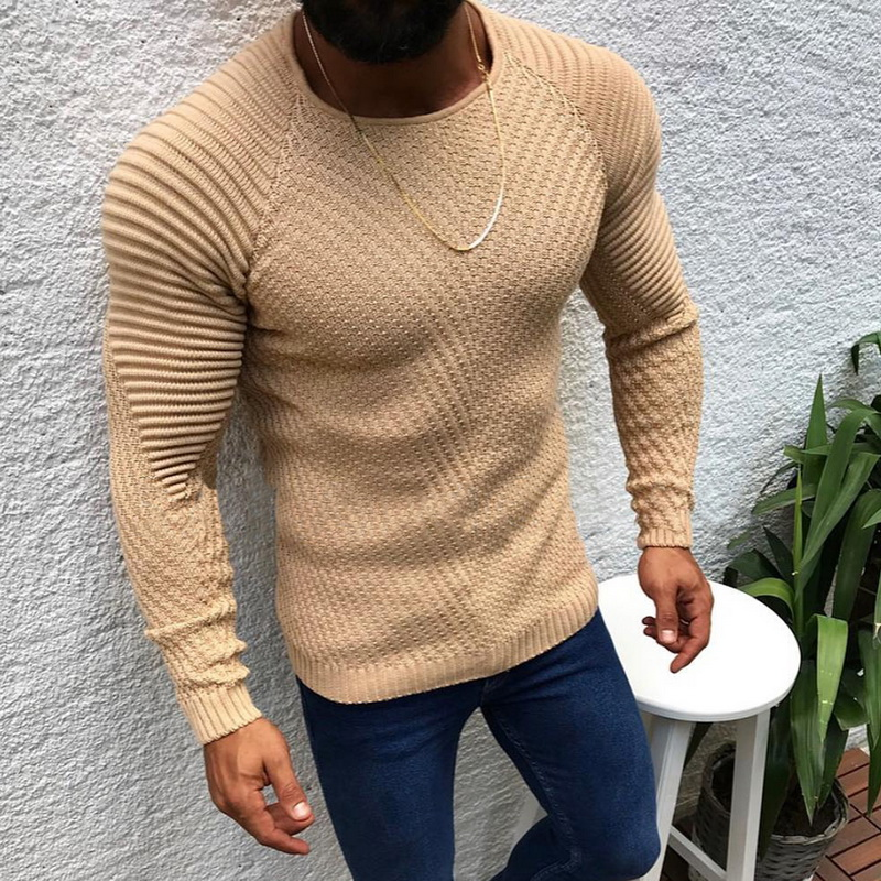 Mens Slim Casual Sweater Personality Fashion Woven Stitching Pullover Thick Sweater Male Autumn Winter Solid Warm Tops