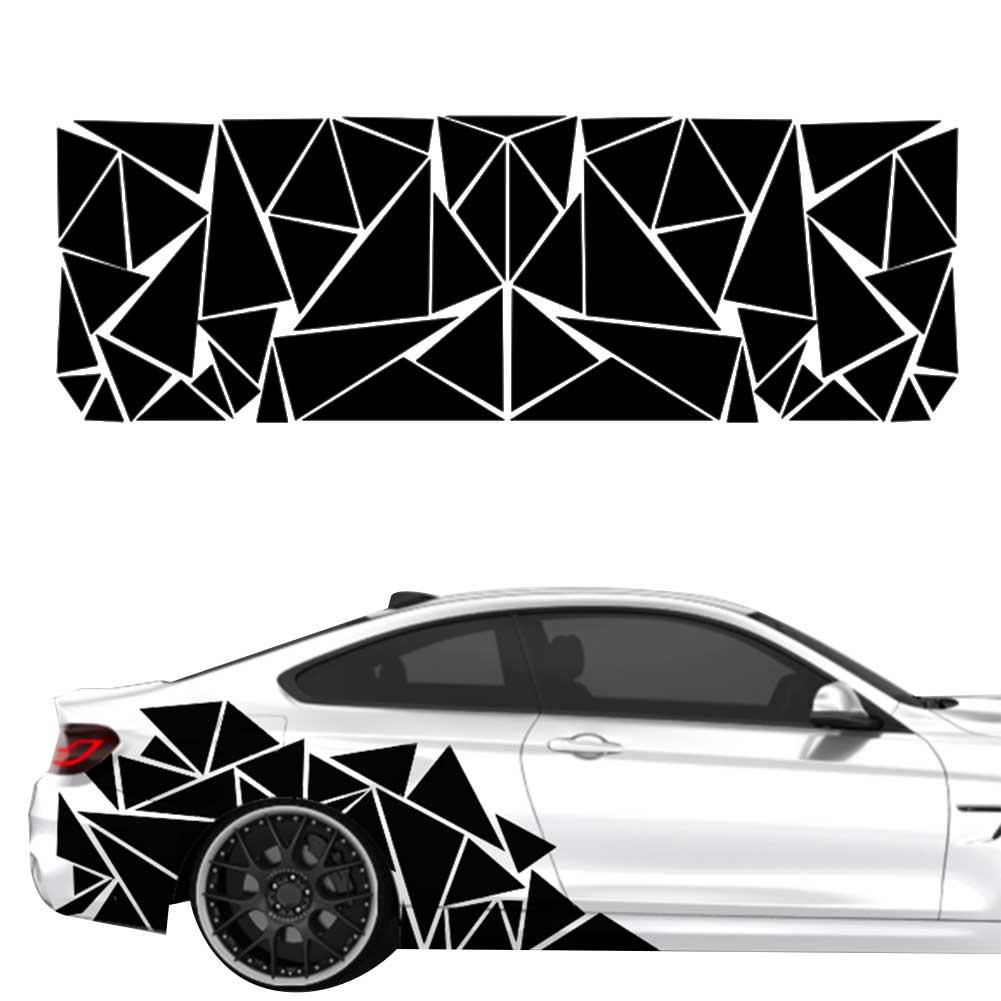 200x60cm Matte Black Triangles Car Side Sticker Triangles Camouflage Car Vehicle Body Side Reflective Decals Sticker Decoration