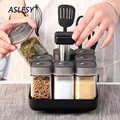 Ensembles pour épices support rotatif Cruet Condiment assaisonnement pots poivre Sprays salière salière porte-bouteilles cuisine rangement organisateur