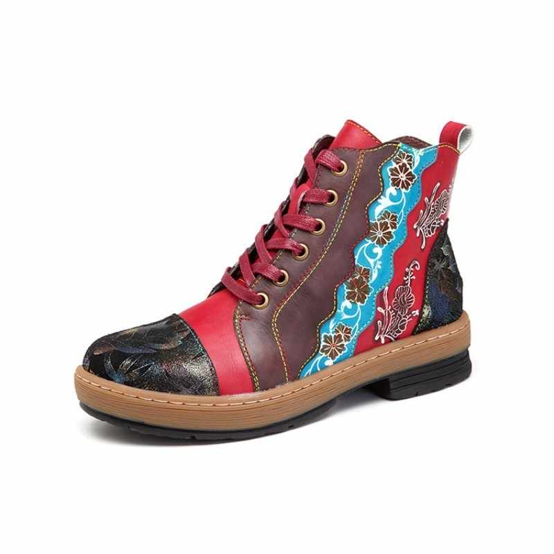 Boho el yapımı kadın inek gerçek deri yarım çizmeler rahat dantel kadar rahat Streetwear ayakkabı halk çiçek baskılı bot ayakkabı