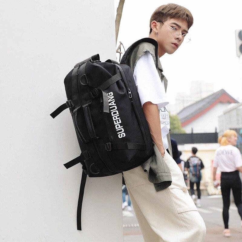 2019 multifonctionnel pratique à la mode hommes double sac à bandoulière bagages collision couleur un sac à bandoulière sac à dos loisirs