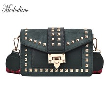 Mododiino Vintage Matte Bag Rivet Crossbody Women Lock Shoulder High Quality Leather Messenger Lady Flap DV1226