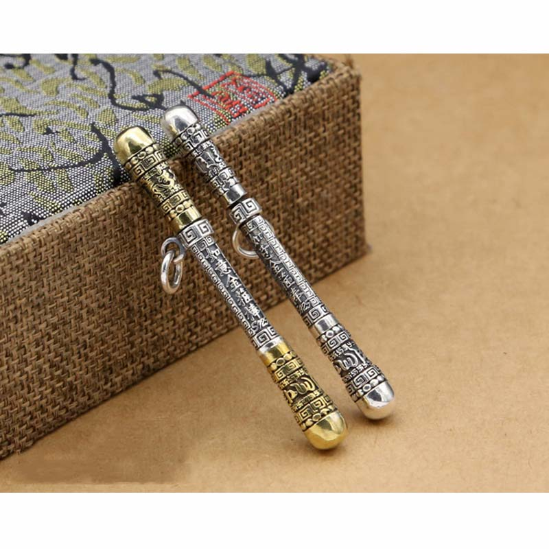 EDC 925 Silver With Brass Knife Beads A Pendant Paracord Outdoor DIY Decorations 925 Silver With Brass Camping Gear EDC Tools