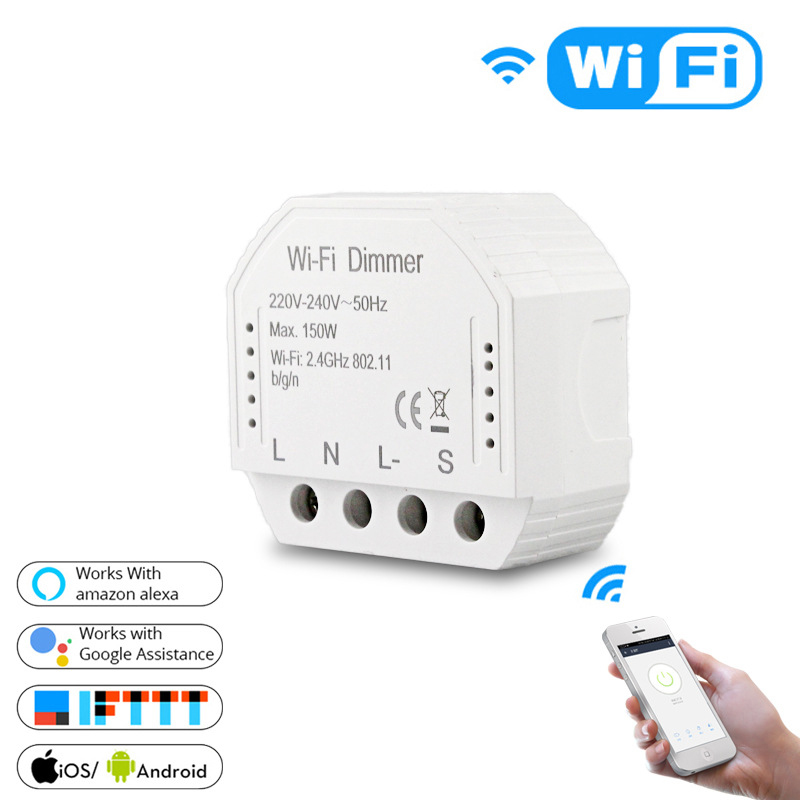 Smart WiFi LED Light Dimmer Switch Smart Life Controller / Yours APP Remote Control Works With Alexa Eco Google 1/2 Shape Switch