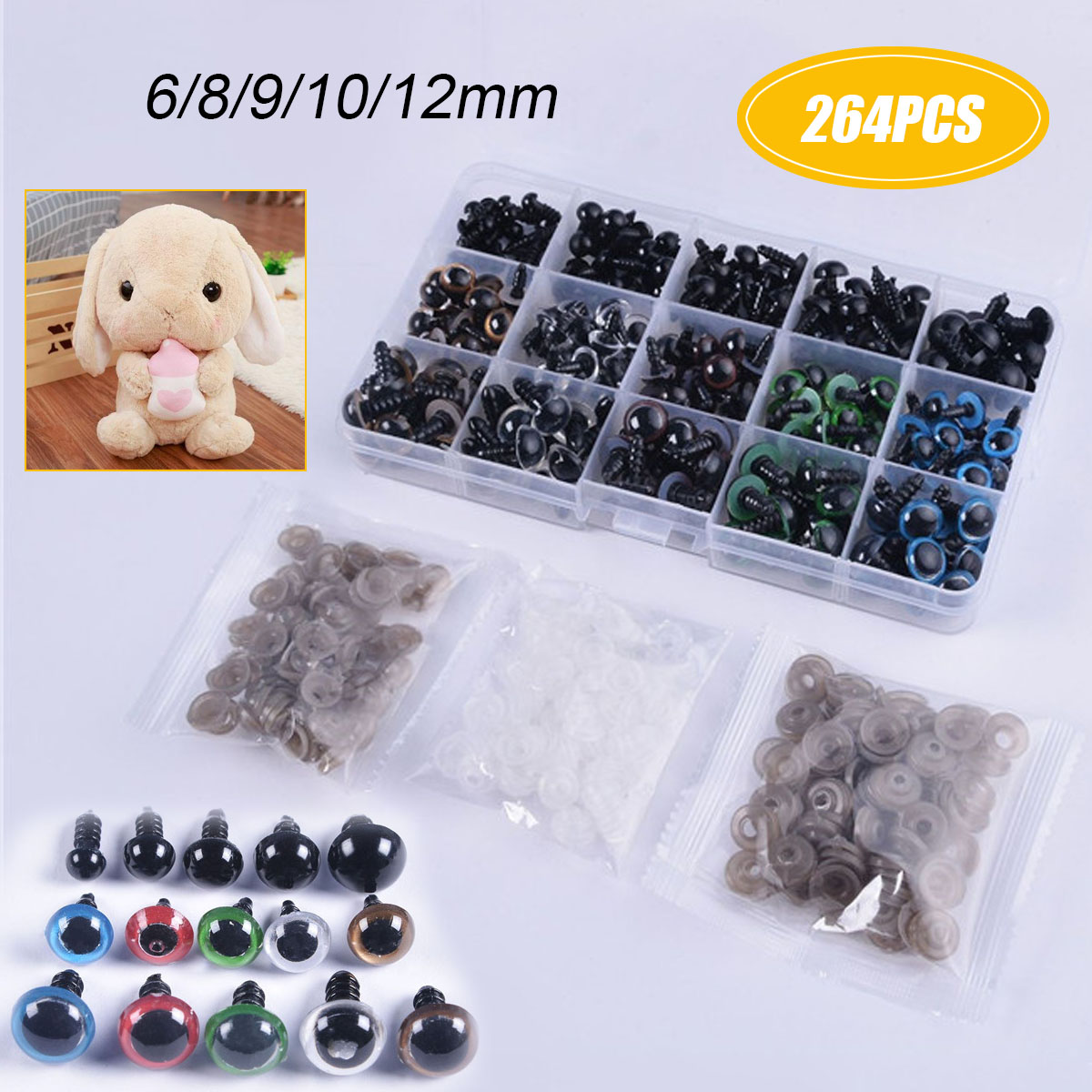 264pcs DIY Craft Kit Black 10//12mm Colorful Plastic Safety Eyes for Teddy Bear Doll Animal Puppet Craft