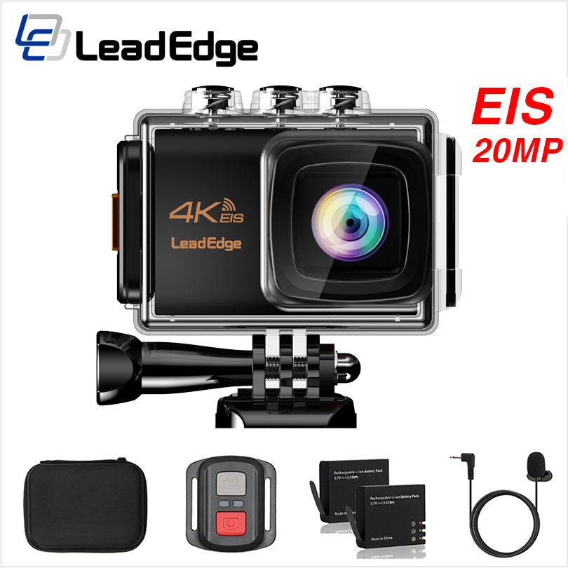 LeadEdge LE7000 Action camera 4K 30FPS 20MP EIS External microphone WiFi waterproof Helmet Cam Pro underwater go Sport camera-in Sports & Action Video Camera from Consumer Electronics