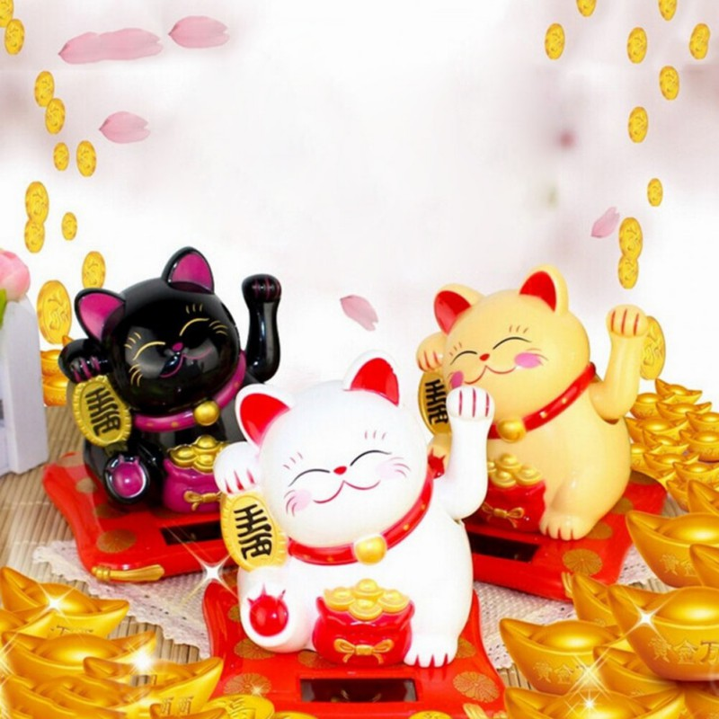 Maneki Neko Waving Arm Beckoning Fortune Cat Lucky Cat Solar Powered For Home Office Store Car Decor Collectible Figurines