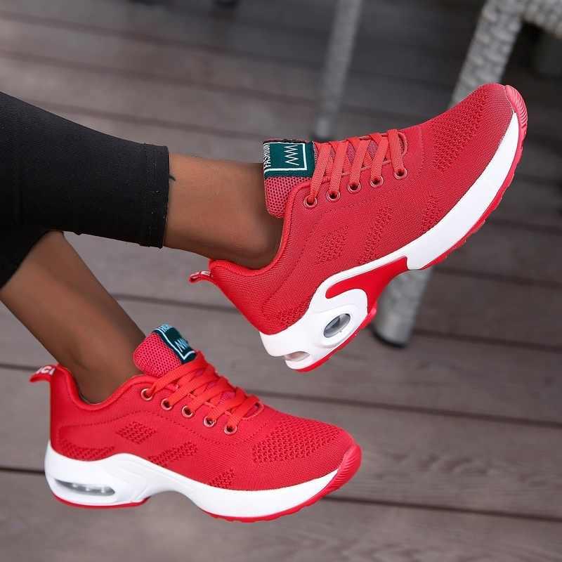 Mode femmes baskets légères vulcaniser chaussures chaussures de Sport en plein Air respirant maille chaussures confortables décontractées coussin d'air à lacets
