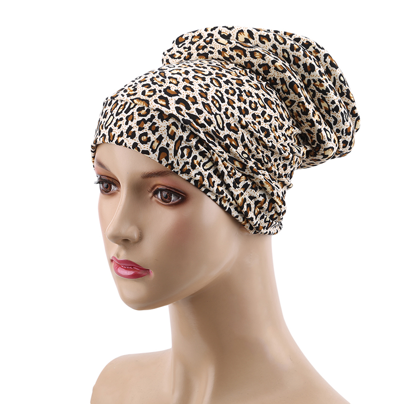 Leopard Women Hats Cotton Blend Spring Headscarf Cap Bonnet Hair Loss Gift Muslim Beanie Chemotherapy Cap Adjustable