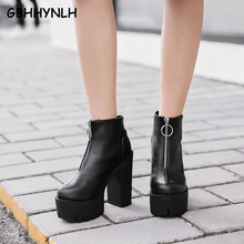 GBHHYNLH cowboy boots Platform shoes Ankle Boots Women Chunky Heels women Short Ladies Shoes Sapato Feminino LJA812