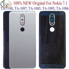Oryginał dla Nokia 7.1 pokrywa baterii drzwi dla Nokia 7.1 powrót pokrywa baterii z obiektywem aparatu części zamienne TA 1100 TA 1096